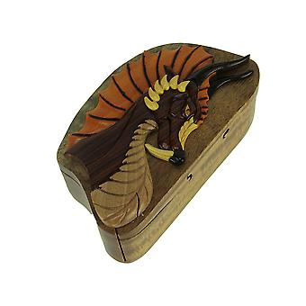 Hand Carved Wood 3D Dragon Head Puzzle Trinket Box