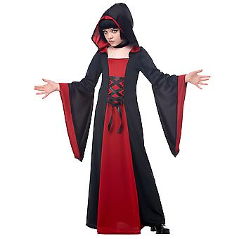 Deluxe Hooded Robe Red Black Gothic Witch Vampires Halloween Girls Costume