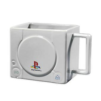 Sony PlayStation impreso taza gris de consola 3D, cerámica, en un atractivo estuche