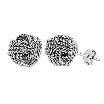 Sterling Silber Rhodium beenden 9 mm verdrillte Kabel Love Knot Ohrringe