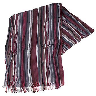 Knightsbridge cravatte a righe sciarpa di cotone - prugna/grigio/nero