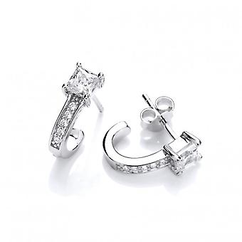 Cavendish French Silver & Cubic Zirconia Half Hoop Earrings