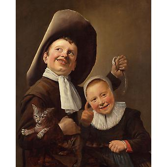 A Boy and a Girl with a Cat and an Eel,Judith leyster,59x49cm