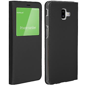 Smart view vindu flip case for Samsung Galaxy J6 Plus, slank deksel - Svart
