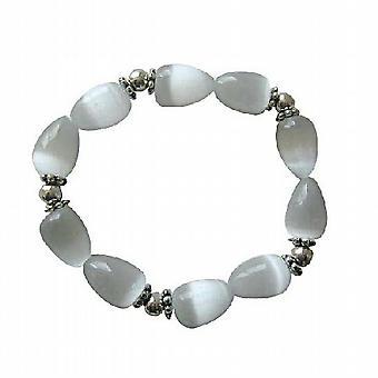 Bianco opale Teardrop bracciale estensibile gatto occhio lacrima w / Rondells