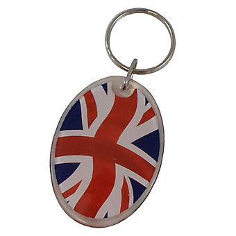 Union Jack Acrylic and Metal Keyring Oval Fob 2.5 Split Ring Red White Blue Keys British Bag Accessory TRIXES