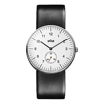 Braun Mens analog quartz watch with leather band BN0024WHBKG