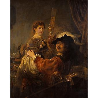 Auto-retrato com Saskia, Rembrandt, 50x40cm