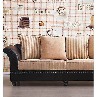 Blown Vinyl Orange Check Plaid Kitchen Wallpaper Coffee Beans Latte Cappuccino