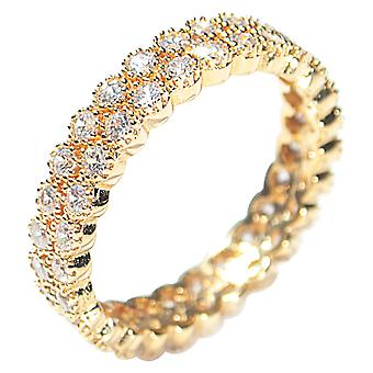 Ah! Jewellery Women's Genuine 18k Gold Filled Micro Pave Fringed Ring