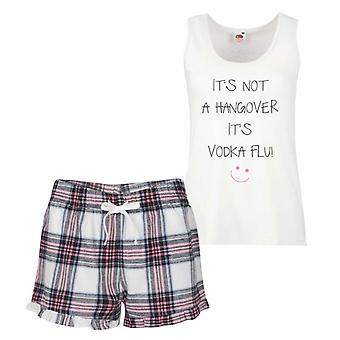 It's Not A Hangover It's Vodka Flu Pink Tartan Pyjamas