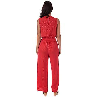 Frauen nur Nova Lux Wrap Jumpsuit In Red-Sleeveless-V-Neck Mit Wrap Detail-
