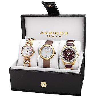 Akribos XXIV AK887YG diamant bracelet/sangle montre ensemble de femmes
