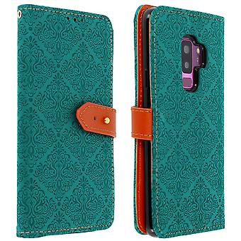 Samsung Galaxy S9 Plus Case Card Holder Stand Function Oriental Pattern Blue
