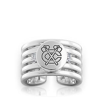 Chicago Blackhawks Diamond Ring In Sterling Silver Design by BIXLER