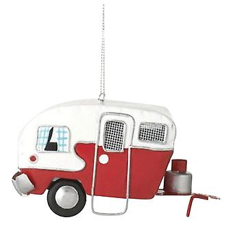 Red and White RV Campground Camper Christmas Holiday Ornament