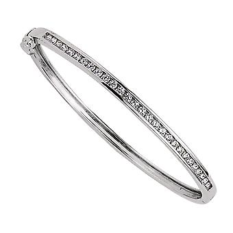 Jewelco London Girls Rhodium Plated Sterling Silver Round Brilliant Cubic Zirconia Eternity Bangle Bracelet