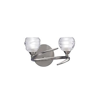 Mantra Loop Wall Lamp Switched 2 Light G9 ECO, Satin Nickel