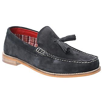 Basis Londen Mens Tempus Suède Slip on Shoe Navy