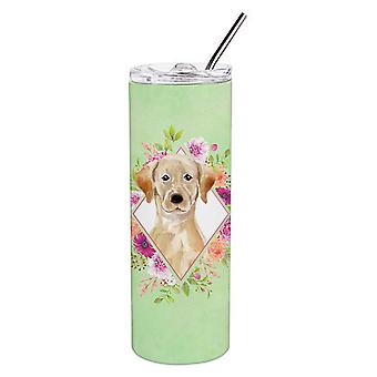 Yellow Lab Green Flowers Double Walled Stainless Steel 20 oz Skinny Tumbler