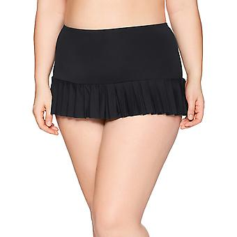 BEACH HOUSE WOMAN Women's Plus-Size Solid Pleated Skirt, Black, Size 16.0