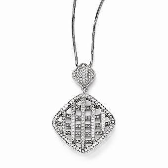 925 plata esterlina pave rodio rodio langosta garra cierre y CZ Circonión cúbica simulada diamante elegante cuello pulido