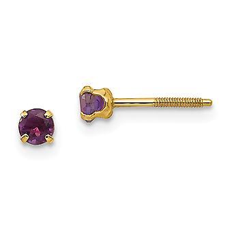 14k Yellow Gold Polished Screw back Post Earrings 3mm Amethyst for boys or girls Earrings  Measures 4x4mm