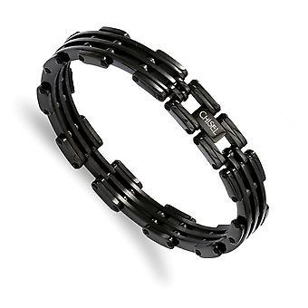 女性のためのIPブラックメッキブラックメッキブレスレットジュエリーギフトの上にステンレス鋼研磨フォールド