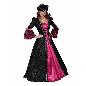 Costume Maxi Dress Madame Dames Rococo Baroque Comtesse Robe Renaissance Noir Rose Adel Carnaval Carnaval Costume Femme