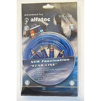 Alfatec MB-50B belechtet Chinch câble bleu 5 mètres avec LED bleue