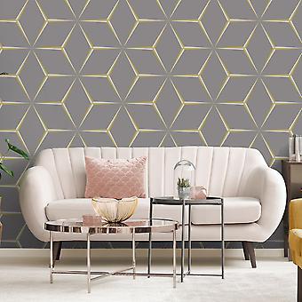 Harper geometrische behang geel/grijs Belgravia 9740
