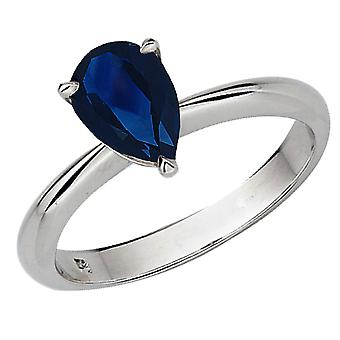 Dazzlingrock Collection 14K 9X7mm Pear Cut Blue Sapphire Solitaire Bridal Engagement Ring, White Gold