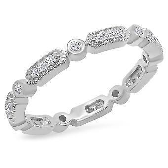 Dazzlingrock Collection 0.30 Carat (ctw) 14K Round White Diamond Vintage Style Wedding Eternity Stackable Band 1/3 CT, White Gold