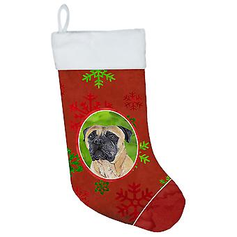 Mastiff Red and Green Snowflakes Holiday Christmas Christmas Stocking SC9425