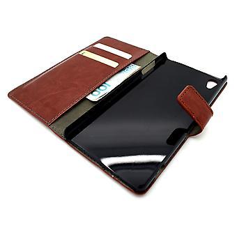 Sony Xperia Z3 Plus + / Z4 Wallet Leather Case Brown