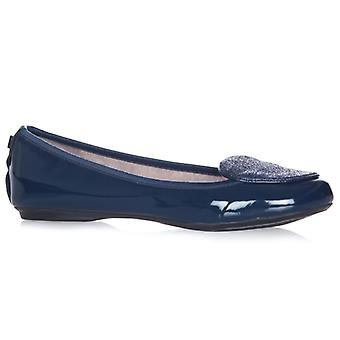 Butterfly Twists Evie Ladies Patent Ballerina Shoes Navy