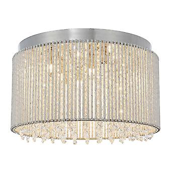 Endon Galina 10 Luz Flush Placa de cromo y Cristal Transparente 81980