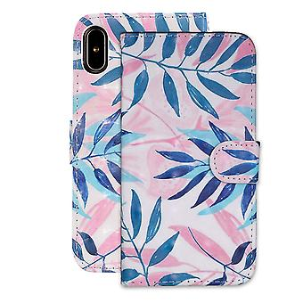 Green Leaves Pattern Folio Leather Case For iPhone XR,Holder,Card Slots,Wallet