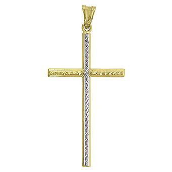 10k Arany Két hang Dc Férfi Cross Height 56.7mm X Width 26.8mm vallási Charm Medál Nyaklánc Ékszer Ajándékok férfiaknak