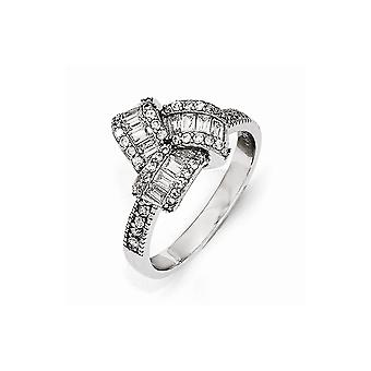 Cheryl M 925 Sterling Silver Step Cut CZ Cubic Zirconia Simulated Diamond Ring Jewelry Gifts for Women - Ring Size: 6 to