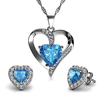 Dephini heart necklace & heart earrings silver women's jewellery set