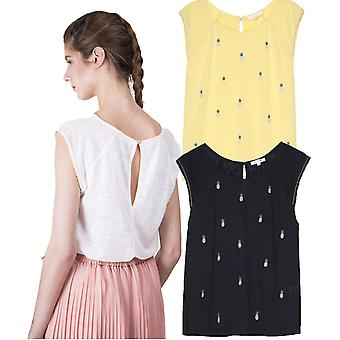 Grace and Mila Mickey Pineapple Embroidery Fine Knit Tshirt Top