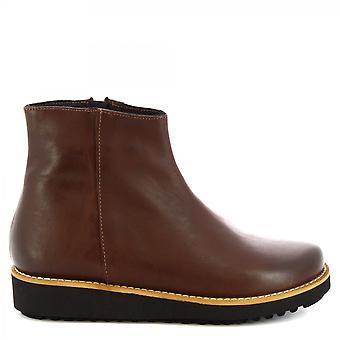 Leonardo Shoes Women's handmade wedges ankle boots dark brown leather side zip