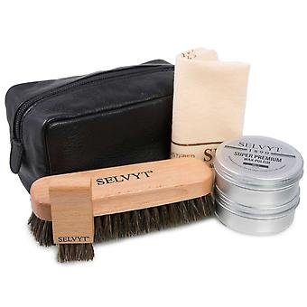 Selvyt 1890 Luxury Shoe Care Kit with Horse hair brushes, cloth, shoe polishes