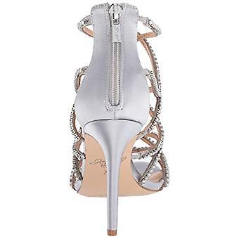 Jewel Badgley Mischka Women's DELANCEY Sandal, silver satin, 7.5 M US