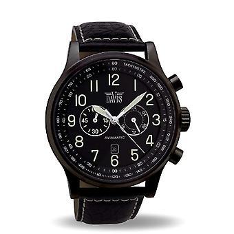 Davis _ 0452-48 mm chronograaf horloge zwart Man 50 M zwembad-Flyer _ zwart case-zwart gestikt leerriem