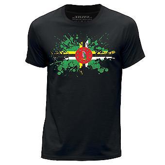 STUFF4 Męski rundy szyi T-shirty Shirt/Dominika/dominikańskie flaga ikona/czarny