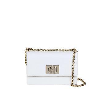 Furla 1065983 Women's White Leather Shoulder Bag