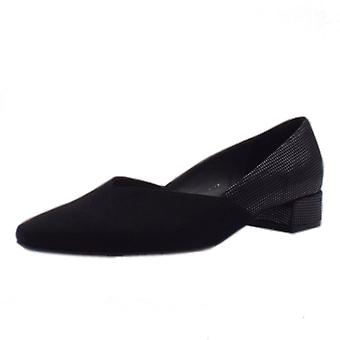 Peter Kaiser Shade Chic Low Heel Court Shoes In Black Suede
