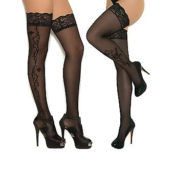 Womens Black Sheer Lace Top Thigh High stockings With Floral Appliques- 2 pack